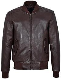1229 70'S RETRO BOMBER Men's Brown Classic Soft Italian Nappa Leather Jacket