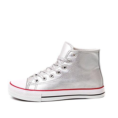 Marimo Classic Unisex Donna Scarpe Sneaker Sneaker Alte In Look Argento