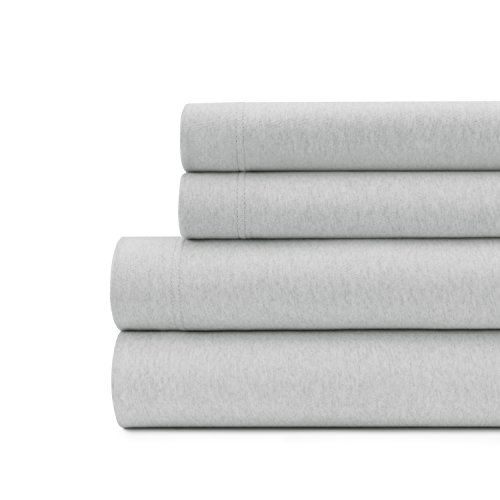 Briarwood Home 150gsm Heathered Jersey Deep Pocket Bed Sheet Set, 100% Extra weiches Garn Gefärbt Baumwolle Bettwäsche, baumwolle, grau, Volle Größe (Grau Chambray Bettwäsche)