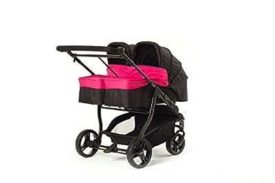 Baby Monsters Silla gemelar EASY TWIN 2.0 + 2 capazos color fucsia+ Regalo de un bolso de Polipiel( Danielstore )