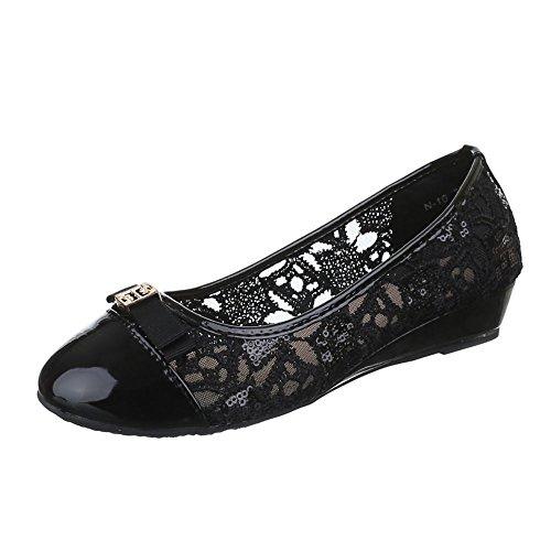 Damen Schuhe, N-10, PUMPS KEIL WEDGES BALLERINAS Schwarz