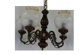 Plafonnier lustre chandelier 5 branches noyer effet laiton vieilli aba - Liste point relais amazon ...