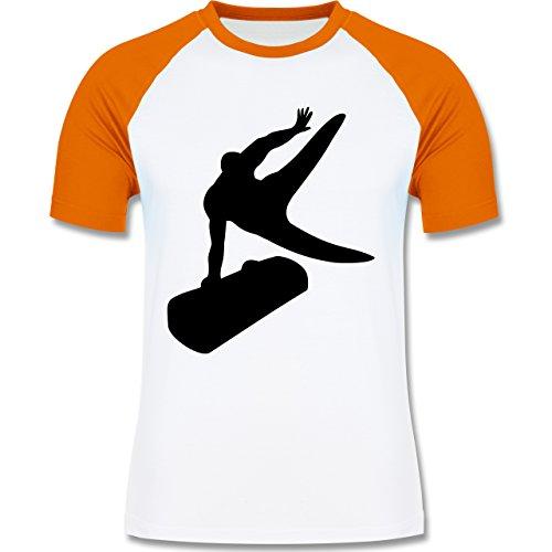 Sonstige Sportarten - Turnen - zweifarbiges Baseballshirt für Männer Weiß/Orange