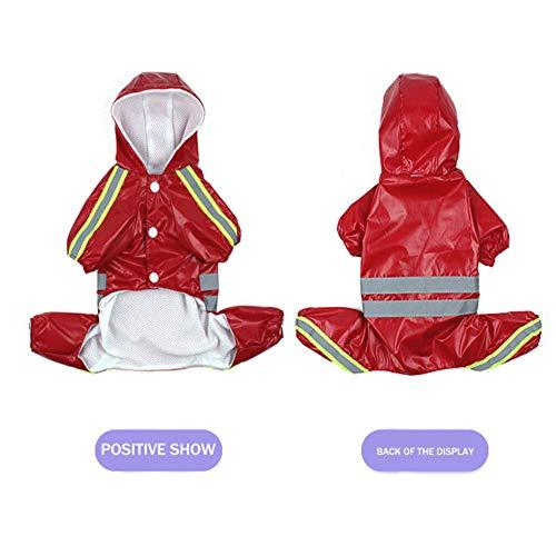 Spritzt Kostüm - ZFFLYH Vierbeiniger Hunderegenmantel, wasserdichter, winddichter Mantel Atmungsaktive Regenschutz-Kapuzenpullover mit reflektierendem Streifen für kleine, mittelgroße Hunde,Red,3XL