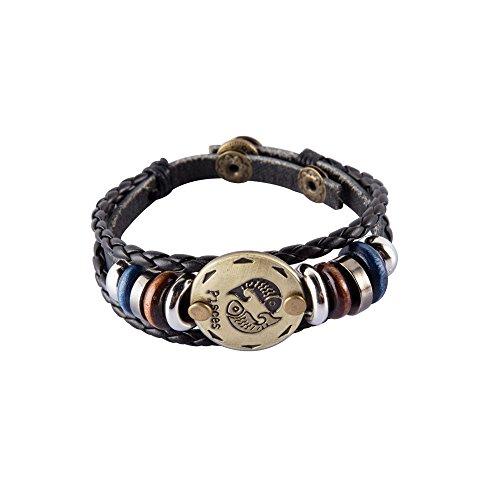 NovaLuna – Retro Sternzeichen Armband aus Braunem Kunstleder in Wickeloptik 'Golden Zodiac' mit Druckknopf-Verschluss – Herren Damen Unisex Armband Accessoire Schmuck in GOLD FISCHE