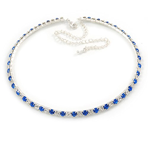 thin-sapphire-blue-clear-austrian-crystal-choker-necklace-in-rhodium-plated-metal-33cm-l-16cm-ext