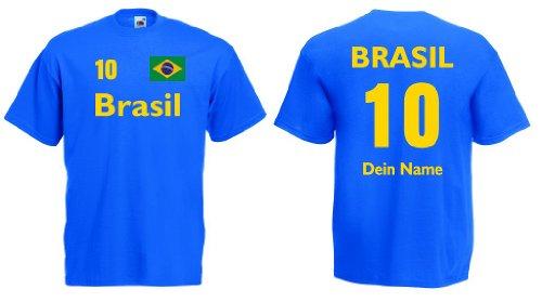 Fruit of the Loom Brasilien Herren T-Shirt Wunschname & Nummer Trikot|royal XL