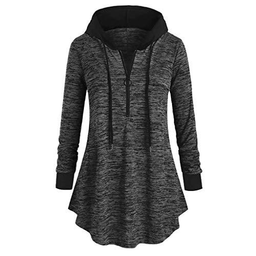 Pullover für Damen,Kobay Beiläufige Oberseiten langärmliges Blusen-mit Kapuze Tunika T-Shirt färben