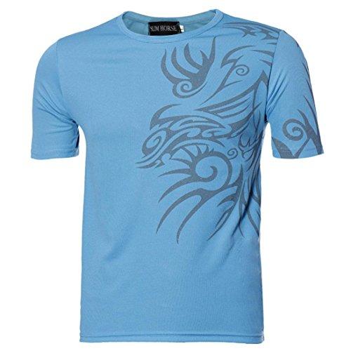 Herren T-shirt Tops,Dasongff Männer T-Shirts Kurzarmshirt Top Print Shirt Casual Blusen Pullover Basic O-Neck Sport Shirts Slim Fit Design (3XL, Blau)