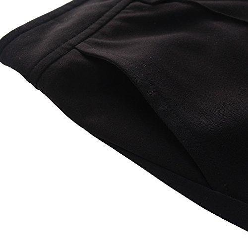 Chicwe Donna Allungare Gamba dritta Taglie Forti Pantaloni con Doppia cintura di schede 46-58 Nero