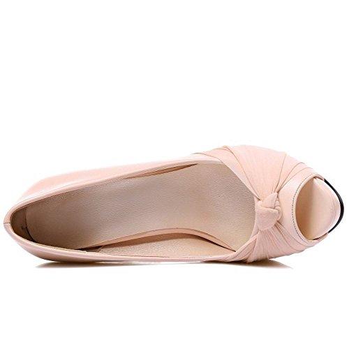 TAOFFEN Damen Mode-Event Plateau Peep-toe Schlupfschuhe Pumps Party High Heel Sandalen 34 Pink