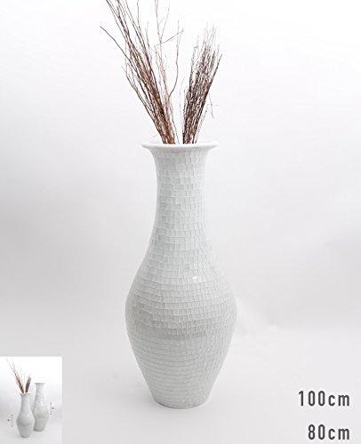 Tall Floor Vase With Glass Mosaic 80 Cm, Ceramic, White