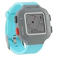 Time Timer polshorloge dames en kinderen grijs met lichtblauwe armband