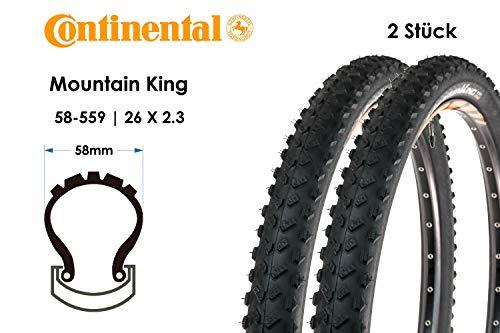 2 Stück 26 Zoll Continental Mountain King 2.3 Fahrrad Reifen 58-559 MTB 26x2.3 Mountain Bike Mantel E25