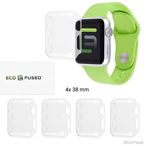 Eco-Fused Hartschalen-Bildschirmschutz Kompatibel mit Apple Watch 2 (38 mm) - 4-er Pack - Transparent - Schützt Ihre Apple Watch Series 2 gegen Stöße & Kratzer - Glasklare Schutzhülle