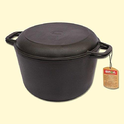Gusseisen Kochtopf 6 L mit Pfannendeckel, geeignet für alle Herdarten / Кастрюля чугунная с крышкой-сковородой, для всех видов плит / The cast-iron pot with lid-frying pan, for all kinds of plates