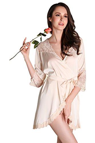 achthemd damen Kimono Robe Satin Kurze Morgenmantel mit Spitze Nachtwäsche Champagner (Damen Robe Kimono)