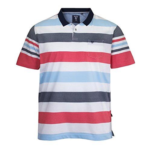 Hajo XXL Streifen Kurzarm-Poloshirt weiß-blau-rot Mehrfarbig