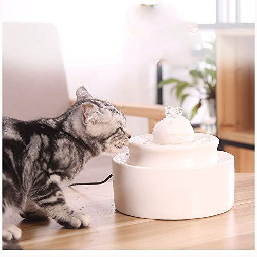 Keramik Cat Water Fountain - Haustier-Tränkeautomat für Katzen und Hunde - Automatische Zirkulationsgeräuschlos Rutschfeste tragbare Keramik-Wasserschüssel 1.2L Live-Frühlings-Trinker