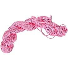 SODIAL(R) 1 rollo 25m Nylon Cordon Hilo Chino Nudo Macrame Cola de Rata Pulsera Trenzada Cuerda Rosa