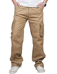 NiSeng Herren Cargo Hose Loose Fit - Vintage Multi-Tasche Outdoor Hose Mit Cargodetails