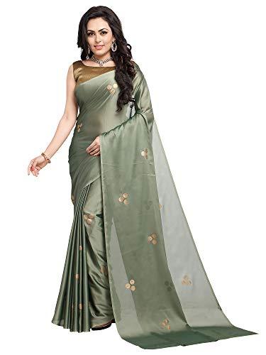 AKHILAM Women\'s Polka Dot Foil Printed Vichitra Art Silk Saree with Unstitched Blouse Piece (Green_2PBNDA3001)