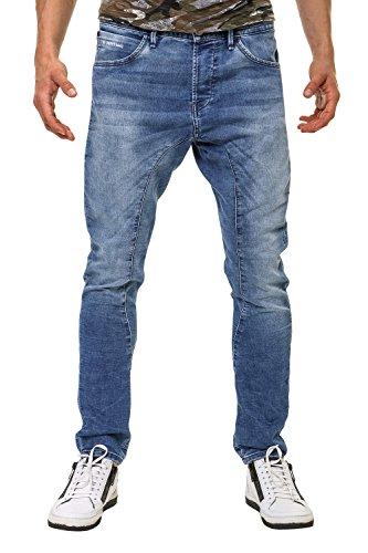 Jack & Jones Herren Jogger Jeans Stretch Used Look Blue Denim