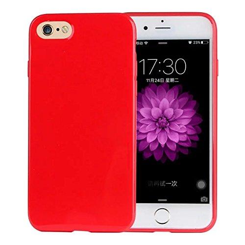 delightable24 Protezione Cover Case in Silicone TPU Jelly per Smartphone APPLE IPHONE 7 - Rosso