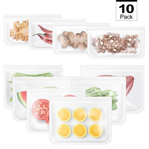OTraki Kochbeutel Lebensmittel Beutel Koch Beutel Küche Beutel Wiederverwendbare aus Silikon für Obst Gemüse Fleisch Suppe, Luftdicht, Auslaufsicher, Einfrieren und Konservieren 10 Stück