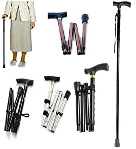 Adjustable Aluminium Folding Walking Stick Pole 81-92cm