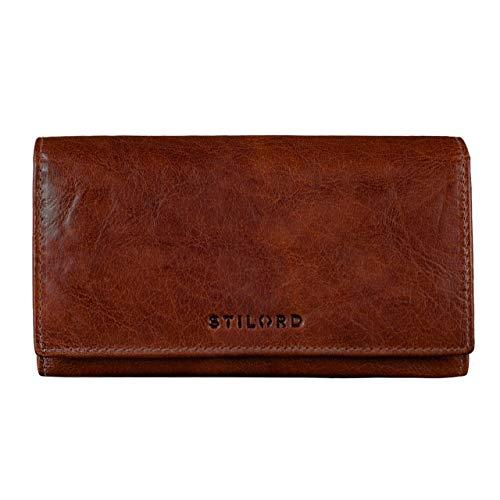 STILORD 'Marquesa' Billetera Cuero Señoras Protección RFID NFC Billetera Vintage Mujeres Oblongo Grande Protección de Lectura Caja de Regalo Cuero Auténtico, Color:Brandy - marrón