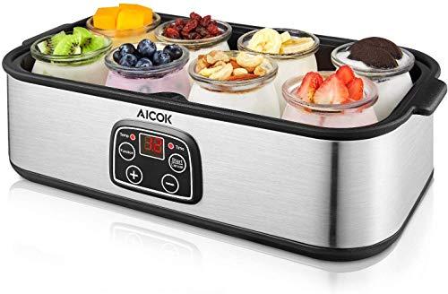 Yogurtiera Elettrica 8 x 180ml Vasetti Display LCD Temperatura Regolabile, Corpo in...