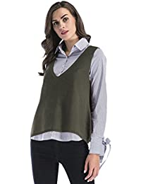 NiSeng Mujer Chaleco Sin Mangas Jersey Sin Mangas Punto Suéter Fino Cuello Casual Tenedor Lateral