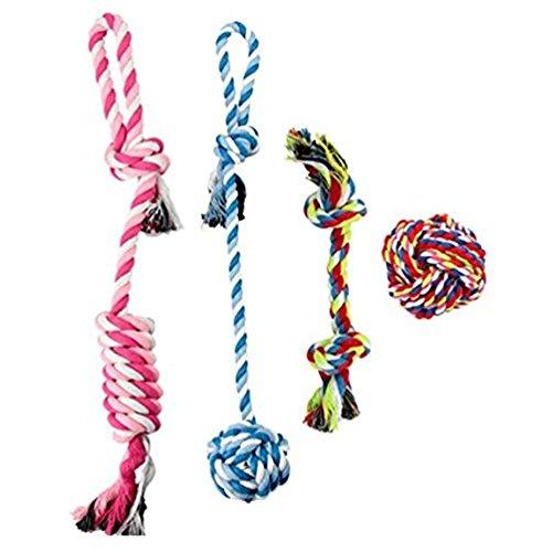4Pcs Haustier-Hundewelpen-Baumwollseil-haltbare Kau-Spielwaren-Zähne, die für kleine und mittlere Hunde sorgen -