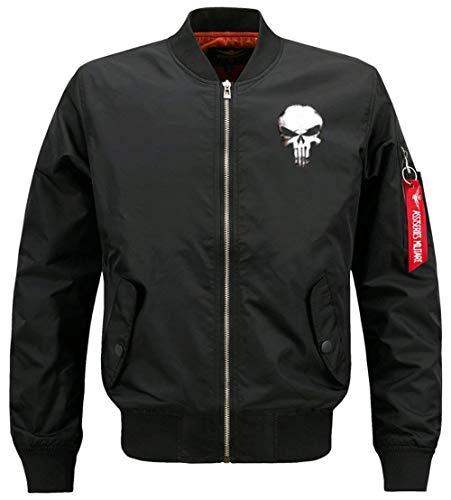 Herren Blouson Bomberjacke Stehkragen Langarm Gesteppt Jacke Slim Totenkopf Gemustert Mode Marken Pilotenjacke Fliegerjacke (Color :...