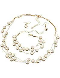 Young & Forever Fresh Water Pearl Necklace Earrings & Bracelet Set Party Wear For Women Girls N219