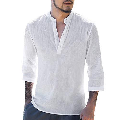 Auied Männer Casual Baggy Baumwolle Leinen 3/4 Ärmel Knopf Retro Solide V-Ausschnitt T Shirts Top Bluse