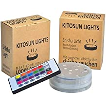kitosun LED grande para shisha Cristal con control remoto 16colores 68mm de diámetro, 25mm grande 3AAA pilas Shisha Efecto Luz