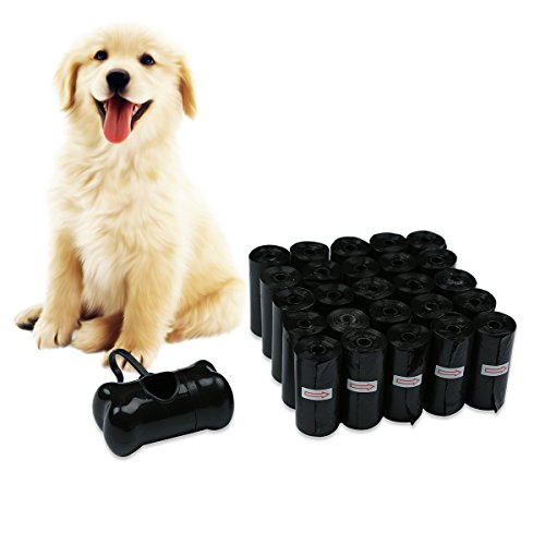 JKC Hundekotbeutel biologisch abbaubar, Gassibeutel biologisch abbaubar für Hund schwarze große Haustier Kotbeutel 25 Rollen (375 Taschen) mit Spender