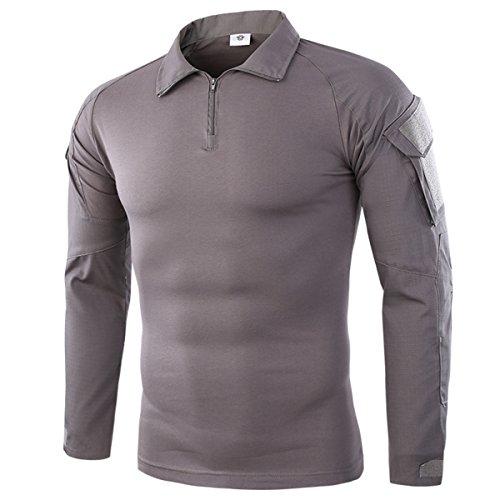 QCHENG Hombres Airsoft Militar Táctico Camisa Largo Manga Camuflaje Combate BDU Camo Camisetas con Cremallera Gris x-Large