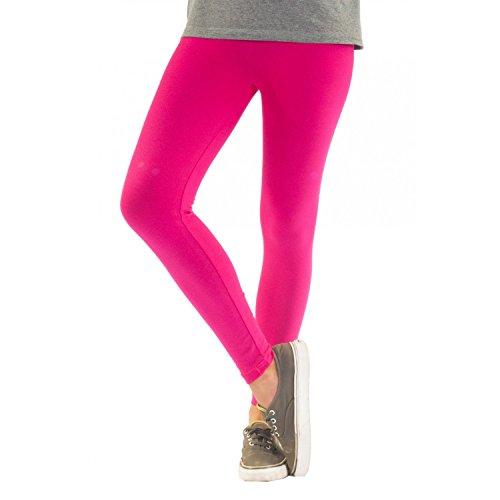 Blickdichte Damen Leggings aus Baumwolle Leggins Knöchellang in schwarz weiß grün grau rot gelb, Farbe: Pink, Größe: 36-38