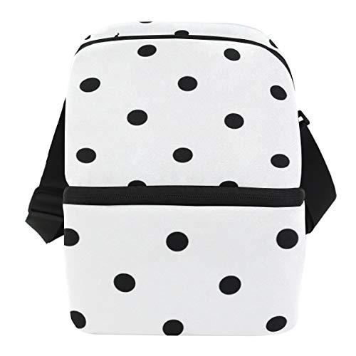 COOSUN Bolsa de almuerzo con diseño floral de lunares, bolsa térmica aislada, bolsa de almuerzo de neopreno impermeable, bolsa de almuerzo con cremallera para el trabajo, al aire libre, viajes, picnic