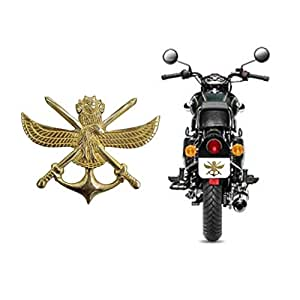 Santech-Rear Mudguard Brass Anchor with Sword Small Badge Decal EmblemWith Keyring for TVS Victor