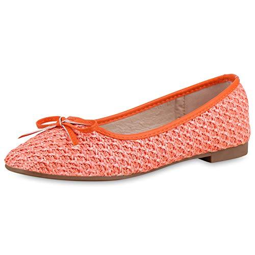SCARPE VITA Damen Klassische Ballerinas Slip On Schuhe Modische Flats Schleife Slipper Feminine Schlupfschuhe 183133 Orange Schleifen 41 - Ballerinas Frauen Orange Schuhe