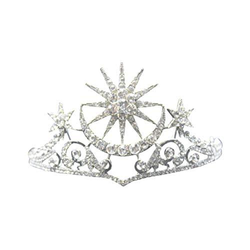 Frcolor Krone Diademe Stern Mond Strass Tiara Stirnband für Frauen Hochzeit Geburtstag Party (Silber) (Sternen-stirnband)