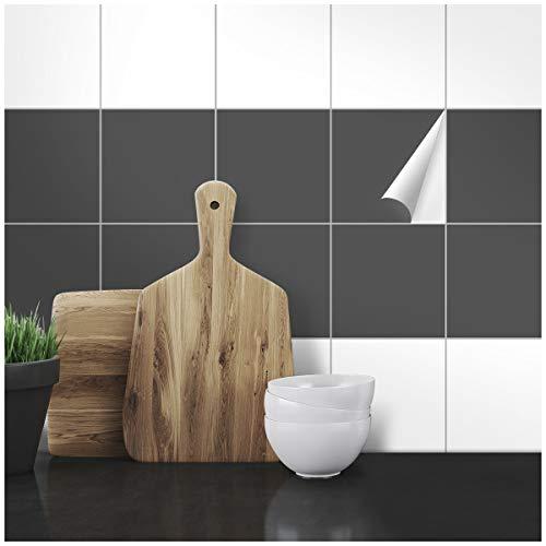 Wandkings Fliesenaufkleber - Wähle eine Farbe & Größe - Dunkelgrau Seidenmatt - 14,5 x 14,5 cm - 20 Stück für Fliesen in Küche, Bad & mehr