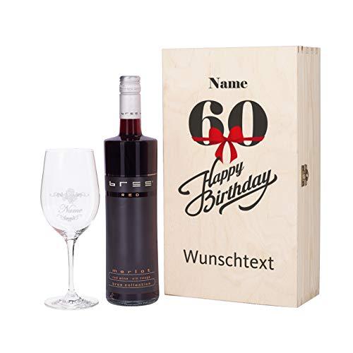 Herz & Heim® Bree Wein-Präsent mit graviertem Weinglas und Bree Wein zur Auswahl in Geschenkkiste zum 60. Geburtstag Rot