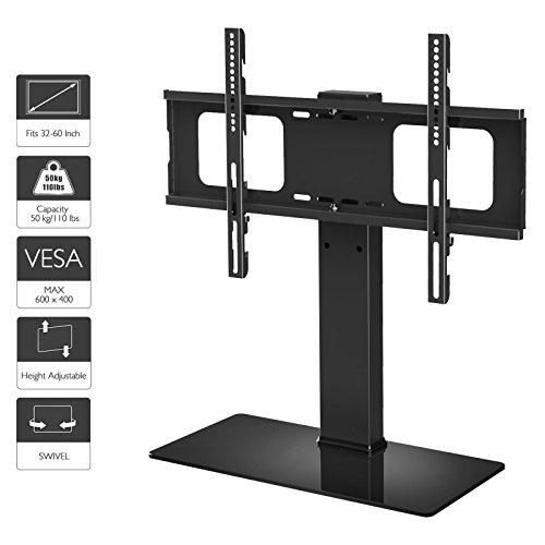 �nder Fernsehtisch Standfuss Glas Standfuß Halterung Ständer Höhenverstellbar Fernsehstand LED Fernseher Stand Flachbildschirm Aufsatz Möbel Rack Tischständer Universal für 32 - 60 Zoll ()