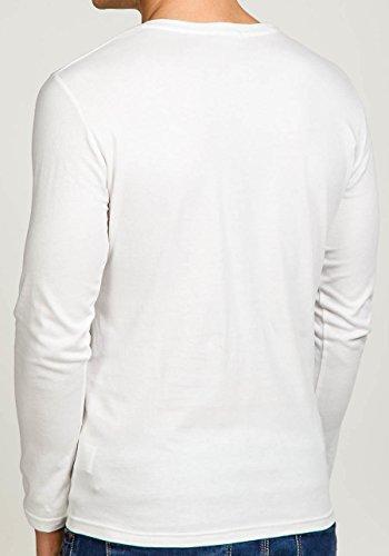 BOLF Herren Sweatshirt Longsleeve Pullover Sweatjacke New Langarm Streetwear Shirt Pullover Pulli Men Rundhalsausschnitt O-Neck BOLF Herren T-shirt Figurbetont Kurzarm Aufdruck STEGOL 547 Weiß_7338