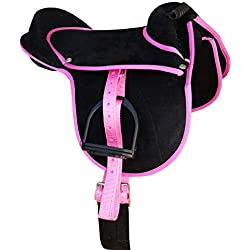Amesbichler AMKA Luca - Juego Completo de sillines de equitación para niños, 10 Pulgadas, Color Negro y Rosa